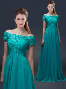 Teal Empire Chiffon Off The Shoulder Short Sleeves Appliques Floor Length Lace Up Mother of Groom Dress