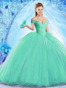 Cute Brush Train Ball Gowns Sweet 16 Quinceanera Dress Turquoise Off The Shoulder Organza Sleeveless Lace Up