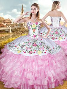 Sleeveless Floor Length Embroidery and Ruffled Layers Lace Up Quince Ball Gowns with Rose Pink