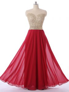 Beading Prom Dress Red Zipper Sleeveless Floor Length