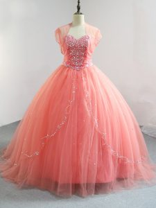 Romantic Ball Gowns Vestidos de Quinceanera Watermelon Red V-neck Tulle Sleeveless Floor Length Lace Up