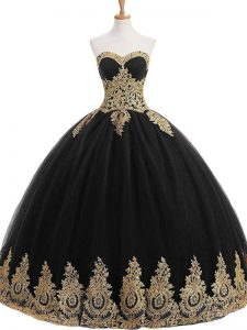 Appliques Quinceanera Gown Black Lace Up Sleeveless Floor Length