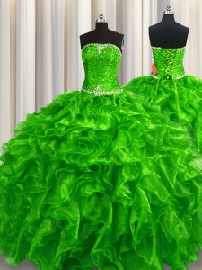 Traditional Green Strapless Lace Up Beading and Ruffles Sweet 16 Dresses Sleeveless