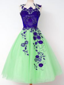 High Quality Tulle Lace Up Straps Sleeveless Knee Length Wedding Party Dress Appliques