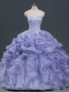 Luxury Lavender Sweetheart Neckline Beading and Ruffles and Pick Ups Quinceanera Gowns Sleeveless Lace Up