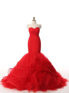 Adorable Red Zipper Sweetheart Ruffles Evening Outfits Tulle Sleeveless Brush Train