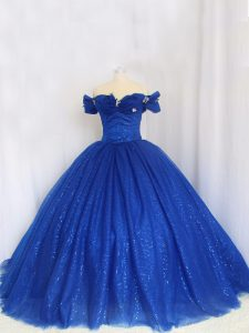 Deluxe Cap Sleeves Floor Length Hand Made Flower Lace Up 15 Quinceanera Dress with Royal Blue