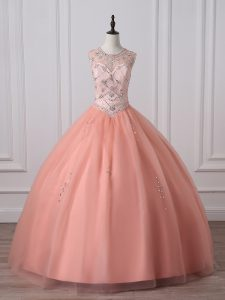 Scoop Sleeveless Tulle 15 Quinceanera Dress Beading Zipper