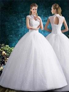 White Ball Gowns Tulle High-neck Sleeveless Beading and Embroidery Floor Length Lace Up Wedding Dresses