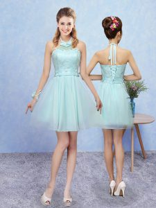 Aqua Blue A-line Halter Top Sleeveless Tulle Mini Length Lace Up Lace Quinceanera Court Dresses