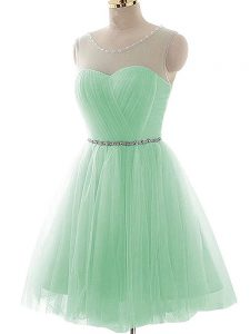 Mini Length Apple Green Prom Dresses Tulle Sleeveless Beading and Ruching