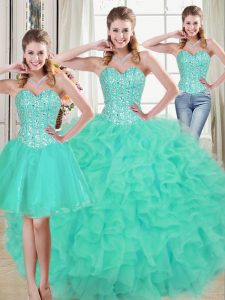 Graceful Turquoise Sleeveless Brush Train Beading and Ruffled Layers Quinceanera Dresses