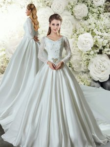Exquisite White A-line V-neck Long Sleeves Taffeta Chapel Train Lace Up Lace and Belt Wedding Dress