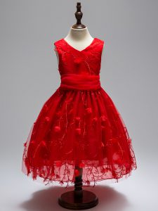 Appliques Flower Girl Dresses Wine Red Zipper Sleeveless High Low