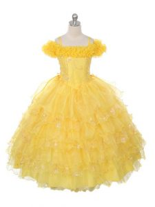 Discount Organza Off The Shoulder Sleeveless Lace Up Ruffles and Ruffled Layers Girls Pageant Dresses in Yellow