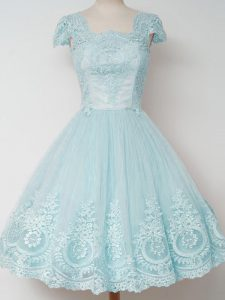 Modern Tulle Square Cap Sleeves Zipper Lace Dama Dress for Quinceanera in Aqua Blue