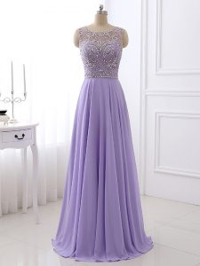 Excellent Lavender Scoop Zipper Beading Evening Dresses Sleeveless