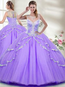 Hot Sale Sleeveless Zipper Floor Length Beading 15th Birthday Dress