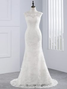 Sumptuous Zipper Wedding Gowns White for Wedding Party with Lace Brush Train