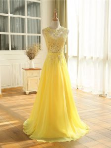 Sleeveless Chiffon Floor Length Zipper Formal Evening Gowns in Yellow with Lace and Appliques