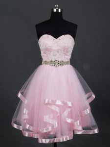 Charming Mini Length A-line Sleeveless Baby Pink Quinceanera Dama Dress Zipper