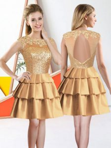 Admirable Gold Sleeveless Knee Length Beading and Lace Backless Vestidos de Damas