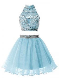 Light Blue Organza Zipper High-neck Sleeveless Knee Length Quinceanera Dama Dress Beading