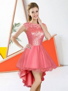 Bateau Sleeveless Wedding Party Dress High Low Beading and Lace Watermelon Red Organza