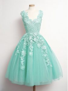 Classical Aqua Blue Sleeveless Tulle Lace Up Bridesmaids Dress for Prom and Party and Wedding Party