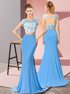 Beading and Hand Made Flower Celebrity Inspired Dress Baby Blue Zipper Sleeveless Brush Train