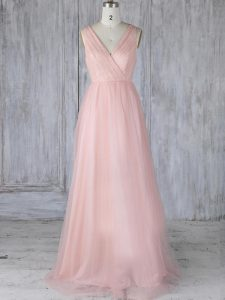 Super Baby Pink Zipper Bridesmaid Dresses Lace Sleeveless Floor Length