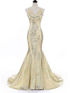 Delicate Gold Sleeveless Brush Train Sequins Celeb Inspired Gowns