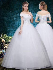 Organza Cap Sleeves Floor Length Wedding Dress and Beading and Appliques