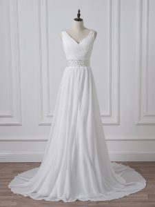 White Backless Bridal Gown Beading and Ruching Sleeveless Brush Train