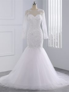 Scoop Long Sleeves Brush Train Zipper Bridal Gown White Tulle