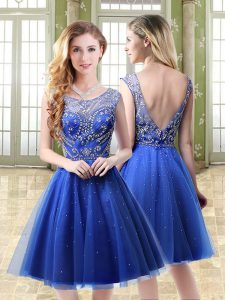 Mini Length Royal Blue Cocktail Dresses Tulle Sleeveless Beading