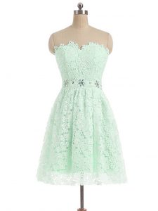 Delicate Mini Length A-line Sleeveless Apple Green Prom Dresses Zipper