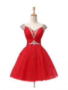 Nice Mini Length Lace Up Cocktail Dress Red for Prom and Party and Sweet 16 with Beading and Sequins