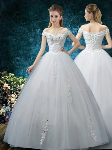 Flare Floor Length Ball Gowns Cap Sleeves White Wedding Dress Lace Up