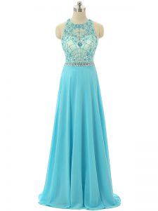 New Style Floor Length Empire Sleeveless Aqua Blue Prom Dress Zipper