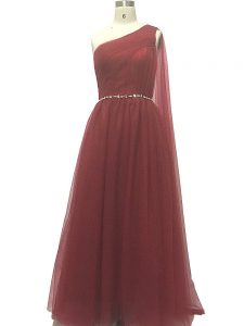 Modest Burgundy Chiffon Zipper Prom Gown Sleeveless Sweep Train Beading and Pleated