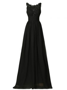 Black Empire Chiffon Scoop Sleeveless Appliques Floor Length Zipper Quinceanera Dama Dress