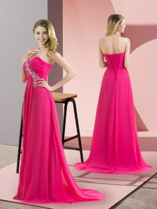 Dynamic Sweetheart Sleeveless Lace Up Prom Dresses Hot Pink Chiffon