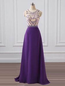 Purple Dress for Prom Prom and Military Ball and Sweet 16 with Beading Scoop Sleeveless Brush Train Zipper