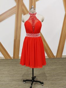 Sweet Coral Red Chiffon Zipper Sleeveless Beading and Ruching