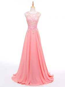 High Class Sleeveless Brush Train Beading and Lace Lace Up Formal Evening Gowns