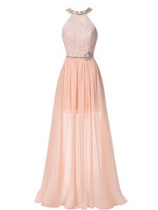 Hot Sale Halter Top Sleeveless Formal Evening Gowns Floor Length Beading Peach Chiffon