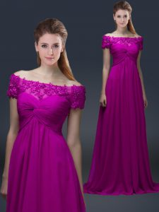 Fashion Fuchsia Empire Appliques Mother of Groom Dress Lace Up Chiffon Short Sleeves Floor Length