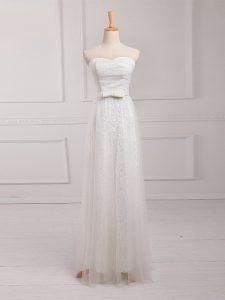 Vintage White Tulle and Lace Lace Up Sweetheart Sleeveless Floor Length Quinceanera Court Dresses Belt