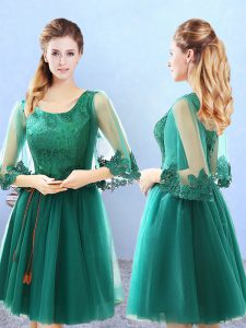 Green 3 4 Length Sleeve Knee Length Lace and Appliques Lace Up Quinceanera Court Dresses
